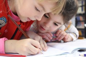 Children writing